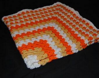 Candy Corn Baby Afghan, Crochet Baby Afghan, Crochet Baby Blanket