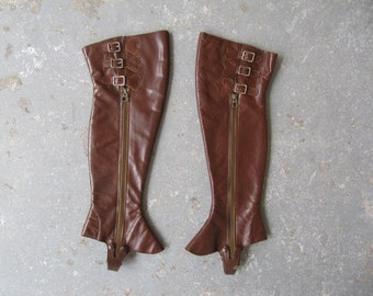 VIntage 1940s brown leather spats / knee high boys leather spats
