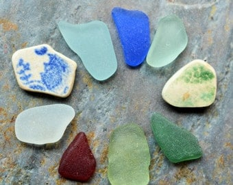 Seaglass Minis. Undrilled. 9 Pcs. Red, Aqua, Teal, Sage, Cobalt Blue, Blue & Green China, White. Lot G5.