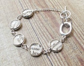 Anne of Green Gables Bracelet. Vintage Literature Text LM Montgomery Two Cheeky Monkeys Jewelry Jewellery Silver Charm Quirky Words Classic
