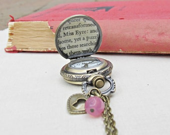 Customized Jane Eyre Watch Necklace Vintage Charlotte Bronte Pocket Watch Pendant Brass Brown Literature Heart Lock Padlock Jewellery