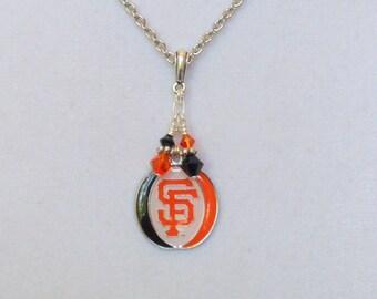 San Francisco Giants Necklace, SF Giants Bling, Orange and Black Crystal Pro Baseball Necklace, Giants Baseball Accessory