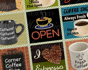 Fresh Brewed / Coffee Espresso Latte Java Cafe Mug Signs - Printable INSTANT DOWNLOAD 1.5x1.5 Inch Squares Digital JPG Collage Sheet