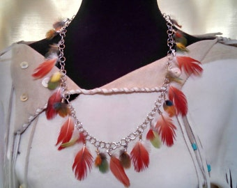 Volando Voy - 2 Winged Medicine - Macaw & African Grey Parrot Necklace and Earrings