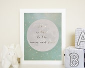 Personalized Loved to the Moon Gold Foil Wall Art Print