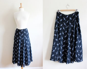 SALE Vintage Navy Floral Silk Midi Skirt