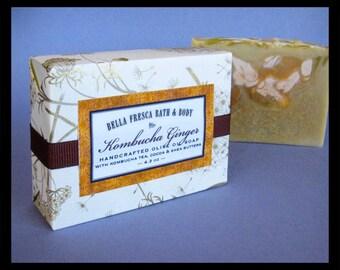 Kombucha Ginger Cocoa & Shea Butter Handcrafted Soap - Gift - All Natural, Ginger Lime soap - Vegan soap, Cocoa Butter, Organic Kombucha Tea