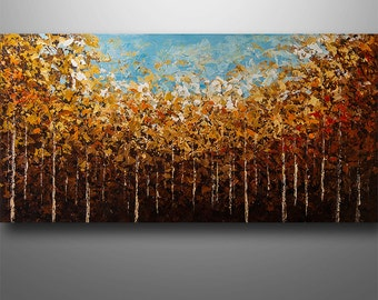 Abstract Painting Palette Knife  Modern Painting  Landscape Birch Trees Art Painting by Gabriela 48x24 Large Original Painting Art