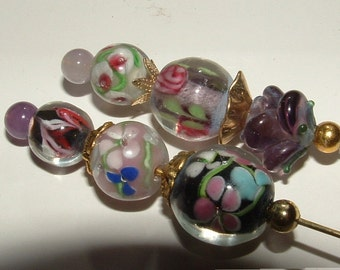 "my own designs- LAMPWORK BEADED hatpins-loaded with  pizzaz  you get both 8"" pins"