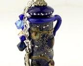 Lampwork Glass Vessel - Celestial Aromatherapy Amphora Jar Blue Cork Lid with Moon and Stars Swarovski Crystals Perfume Jar