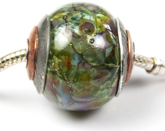 Lampwork Glass Beads, BHB Hollow Focal Green European Big Hole Charm Bead