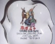 """SEATTLE WASHINGTON - Chinese Resturaunt ashtray FS Louis Berkeley vintage Japan sticker pristine condition - man child deer w antlers -  4"""""""