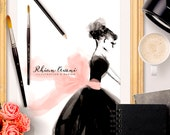 Custom Fashion Illustration - Watercolor Dress Audrey Style Blog Header Design Hand Drawn Sketch by Reani on Etsy