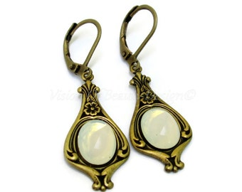 White Opal Earrings Antique Brass Gift for Her VisionOfBeautyDesign, Clip On Earrings Available