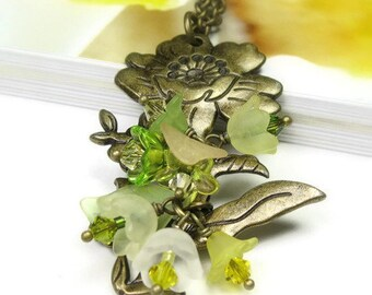 Boho Chic Swarovski Flower Necklace, Green, Yellow, Botanical Woodland Floral Romantic Jewelry, Womens Accessories, Gift Ideas for Gardeners