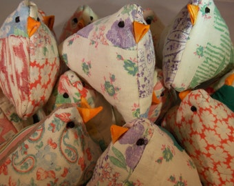 Lavender Sachet Chick Upcycled Old Quilt Chick Pincushion or Basket Filler Repurposed Old Quilt Upcycled