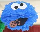 "Blue Monster tissue paper pompom kit, inspired by ""Cookie Monster"" from Sesame Street"