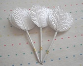 White Fabric Millinery Leaves, Satin Finish (36)
