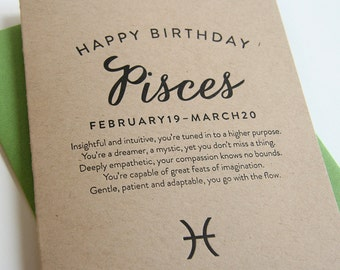 Letterpress Astrology Birthday Card - Pisces