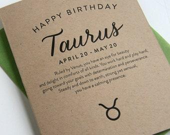 Letterpress Astrology Birthday Card - Taurus