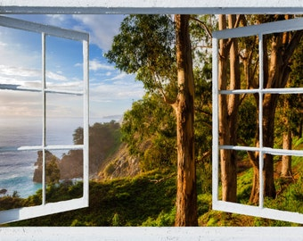 Wall mural window, self adhesive, California open window view-3 sizes available-Big Sur, McWay Falls View with Eucalyptus- free US shipping