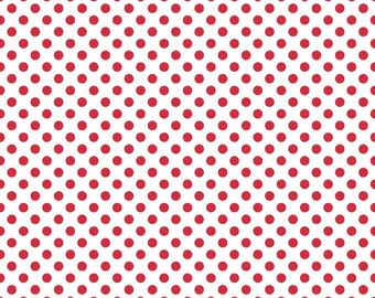 Red Small Dots on White Fabric by Riley Blake Designs - Half Yard - 1/2 Yard - Red and White - C480-80