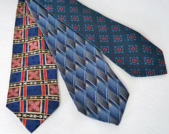 Vintage Neck Ties Vintage Men's Neckties Three All silk Blue Collection of Burberry's of London, Executive Silks, George Machado