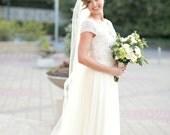 Single layer chapel  length style  wedding veil  white, ivory or diamond