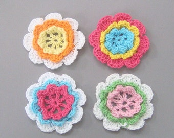 12 Handmade Crochet Flower Appliques 1 3/4 inch  4 Colors EA38