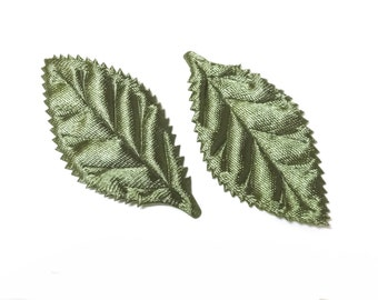 30 Large Satin Leaf Appliques 2 1/4 inch Sewing Craft EA248