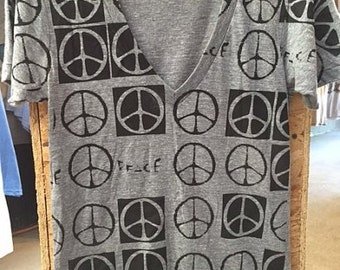 Allover Peace Sign Art Print Tri-blend Deep V Athletic GrayT-shirt American Apparel Unisex S