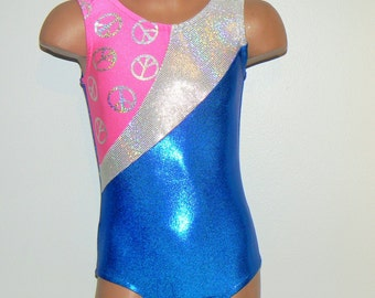 Royal Blue Gymnastic Dance Leotard  with Peace Sign Insert. Dancewear. Toddlers Girls Leotard. Size 2T - Girls 7
