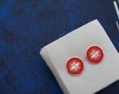 Rare Vintage 1960's Red & Silver Starburst Disk Earring Set- Atomic!