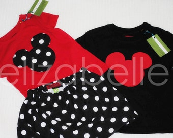 Minnie Mouse Inspired Skirt Set Outfit with Black & White Polka Dot Applique in Size 3, 4, 5 with Red Shirt and can do Matching Boy Shirt