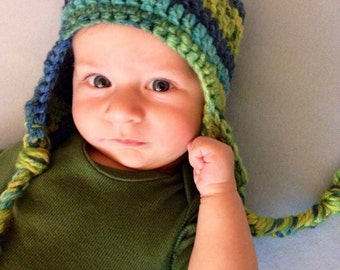 Baby cocheted multi colored hat with ear flaps