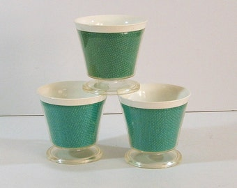 Raffia Ware Footed Dessert Cups, Set of 3, 1950s