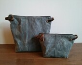 Set of Two: Gray Waxed Canvas, Cordura, and Leather Zipper Pouches
