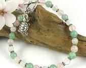 Fertile Blessings Fertility Bracelet ~ Rose Quartz, Green Aventurine & Turtle Charm ~ Infertility