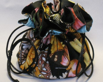 Jewelry Tote---Drawstring Organizer Pouch---Butterflies & Flowers---Medium Size