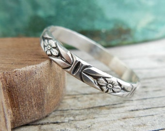 Sterling Silver Stacking Ring, Floral Ring Design, Rustic Silver Band