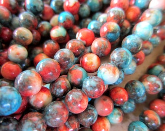 50 Assorted Jade beads 6mm gemstones opaque dyed beads full strand G-L028-05