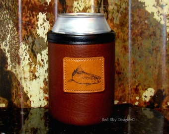 Fishing - Hunting - Outdoors - Rainbow Trout - Elk - Bear - Moose - Bison Leather Can Insulator -  Wildlife Can Holder - Beverage Holder