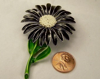 Vintage 1960's 70's Enamel Flower Brooch, Black and White Flower Pin, Vintage, Estate Costume Jewelry, Sunflower, Bouquet Wedding Jewelry