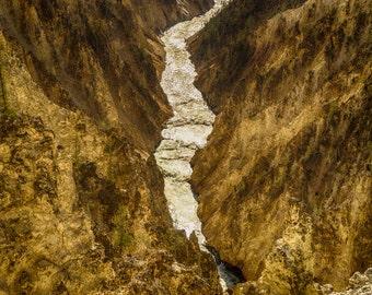 Yellowstone Canyon Photo, Waterfall Photography Yellowstone Photograph Canyon Montana Falls Landscape Wyoming River nat140