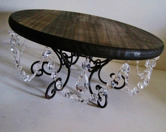 "Outdoor Chic Wood and Crystal Scroll 18"" Cake Stand MADE TO ORDER"