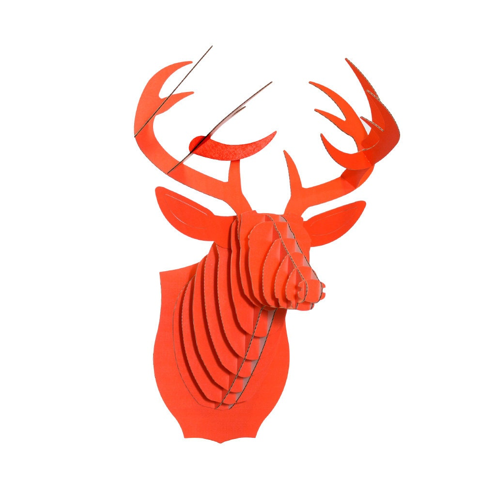 Cardboard Safari Bucky Cardboard Deer Head Small Orange