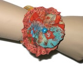 Fabric Cuff Orange Print Flower Boho Gypsy Style