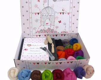 Heidifeathers Premium Boxed Needle Felting Kit - 200g of Wool, handle, Guards, Eyes