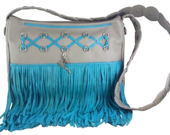 Dragon Lady Gray Leather Purse; Turquoise Fringe