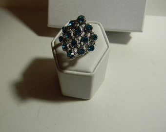 Blue Rhinestone Cocktail Ring Handmade Size 7 Blue And Silver Ring For Her-Blue Crystal Sterling Silver Ring-925 Silver Band-Free Shipping